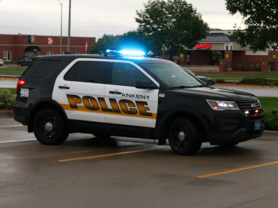 ankeny police vehicle with lights on