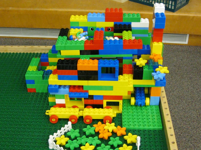 lego creation on lego table