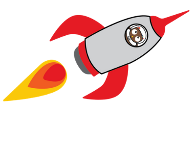 ozzie the owl library mascot in rocket ship