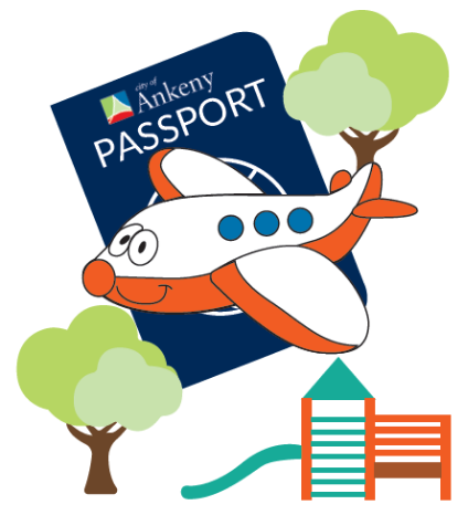 illustration of parker the plane with passport, two trees and playground