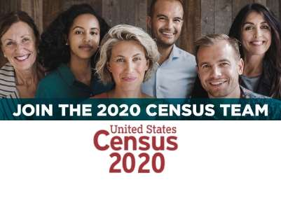 Census Bureau 2020 Join the 2020 Cencus Team group of people smiling