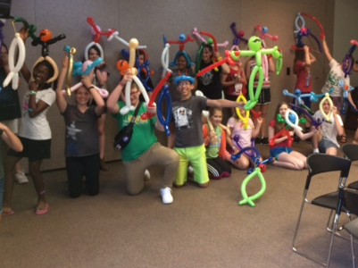 teen library balloon twisting group